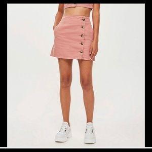 Topshop size 2 pink denim button skirt